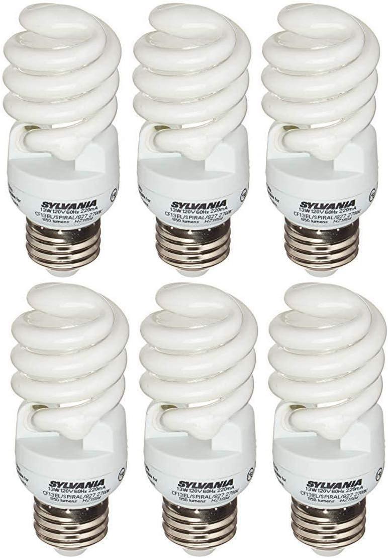Pack of 6 Sylvania CFL 13W 120V Soft White 2700K Light Bulbs