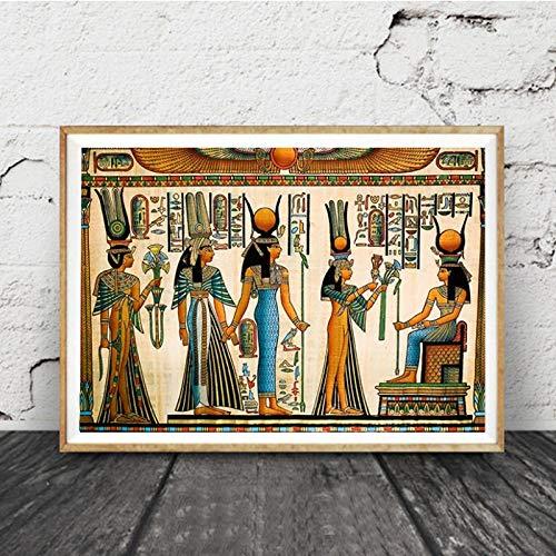 liwendi Ägyptische Wandkunst Leinwand Poster Pergament Stil Alte Antike Poster Vintage Ägypten Bild Wanddekoration König TUT Königin 50X70 cm
