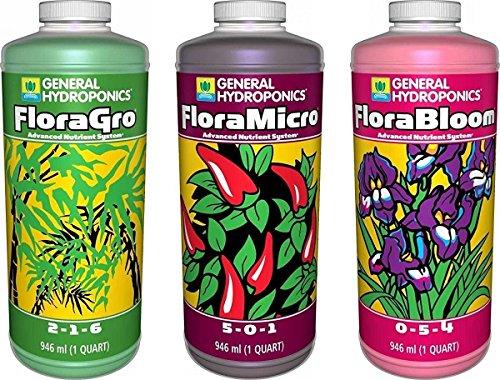 General Hydroponics Flora Grow, Bloom, Micro Combo Fertilizer, 1 quart each