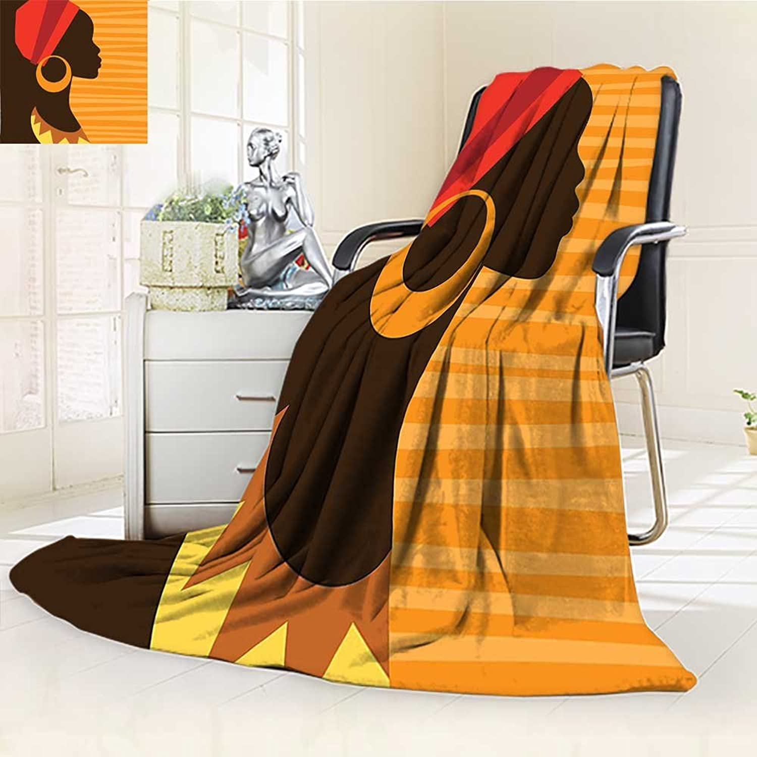 YOYI-HOME Silky Soft Plush Warm Duplex Printed Blanket, Girl Profile Silhouette with Earrings Grace and Elegance Icon Image Dark Brown Merigold Anti-Static,2 Ply Thick Blanket  W59 x H39.5