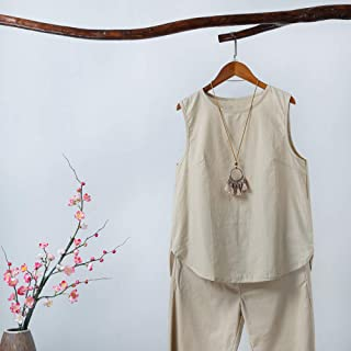 Andoer Fashion Women Irregular Blouse Plus Size Tank Tops Casual Cotton Linen Sleeveless Solid Summer Tee Tunic Basic Tops...