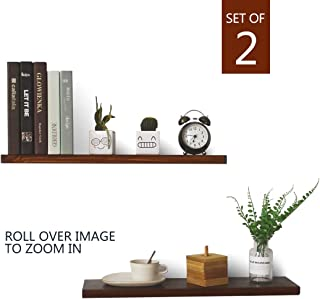 MYJZ-Rustic Wood Floating Shelves Wall Mounted, (Set of 2) Handmade Wood Wall Shelf for Corner Dark Wall Shelf Size(24inch16inch)