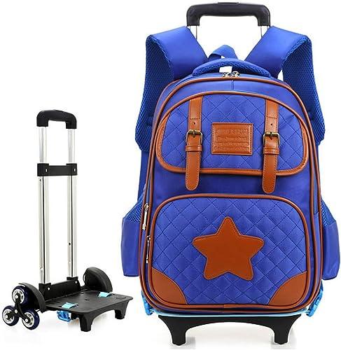 BYGenMai Schultrolley Schulranzen Trolley-Rucksack für Schüler mit sechs R rn, die rollendes Gep  für Kinder transportieren,B