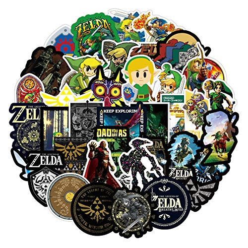 XUUX The Legend of Zelda Stickers for Teen Laptop Skateboard|50pcs|, Cool Game Decal for Water Bottle, Phone, Computer, Travel Case