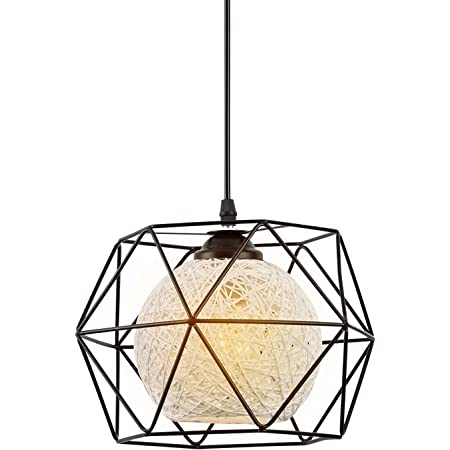 Suspension Industrielle, EYLM E27 Suspension Luminaire,Abat Jour Plafond, Luminaire Plafonnier Lustre Cuisine LED Moderne Simple Salon Antique Lampe Suspension pour Chambre(Avec ampoule)(22cm)