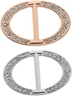2 Pezzi Anello Sciarpa Fibbia Sciarpa Stilo Ovale Strass Di Cristallo Spille Fermagli Gioiello Per Matrimonio Festa