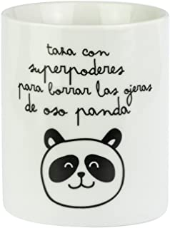 Mr. Wonderful Taza Superpoderes para borrar Las ojeras de Oso Panda, Porcelana, Multicolor, 7 cm