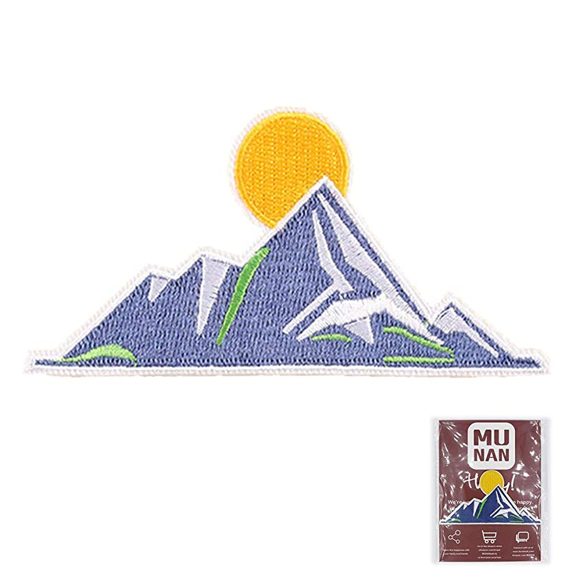 MUNAN Mountain Patch sew on Patches Blue Mountains Patches Iron On Sewing Embroidered Patches Badge Applique for Clothes Jacket Jeans Cap