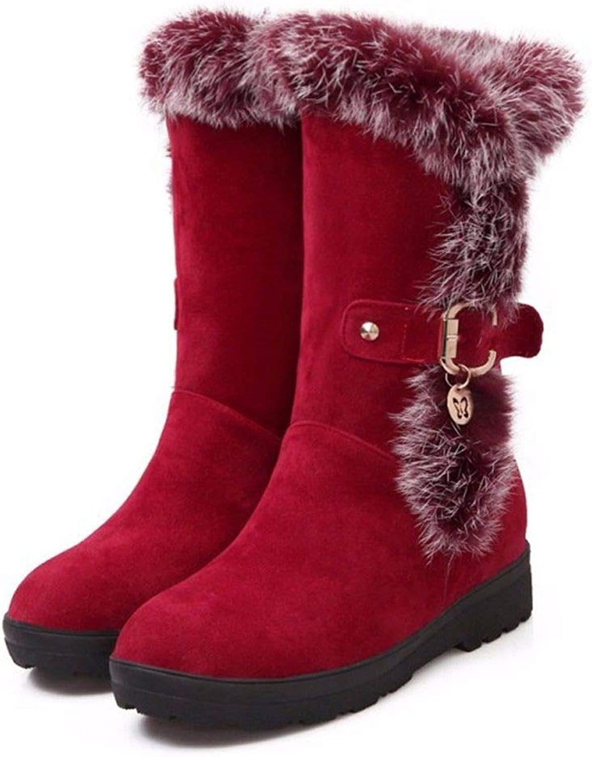 Autumn and Winter Leisure Square Head with Suede Boots Boots Size