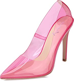 VI&VI Vivi Fashion High Heel Pointed Nude Clear Pumps Heels Slip on Dress Shoes for Women