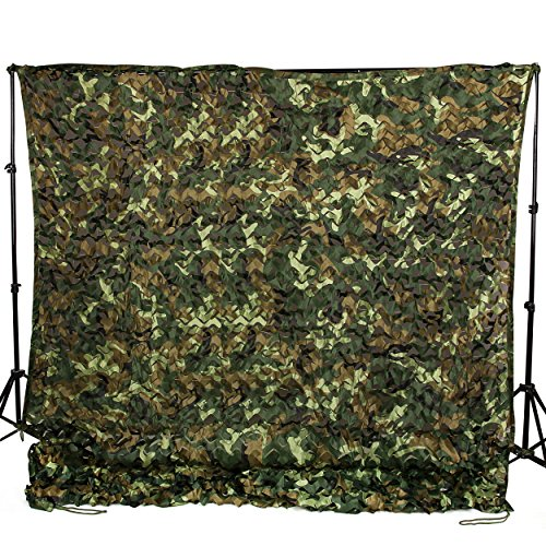 Ginsco 6.5ft x 10ft 2mx3m Woodland Camouflage Netting Desert Camo Net for Camping Military Hunting Shooting Blind Watching Hide Party Decorations (6.5x10ft (2Mx3M))