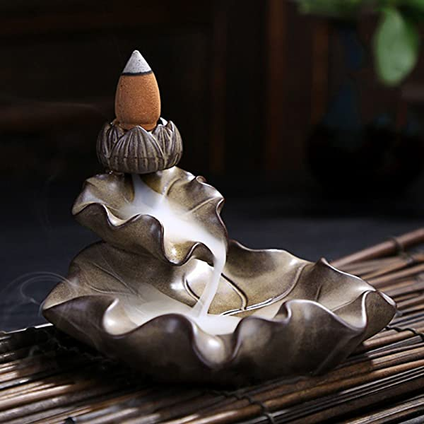 Yamalans Lotus Leaf Shape Incense Holder Backflow Cone Ceramic Incense Censer Burner Home Ornament Craft