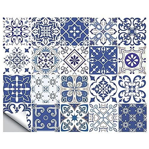 20pcs Retro azulejos pegatinas de pared para baño Cocina Pegatinas de azulejos Decoración Adhesivo Adhesivo impermeable PVC Pegatinas de pared Cocina Línea de cintura ( Color : C , Size : 15X15cm )