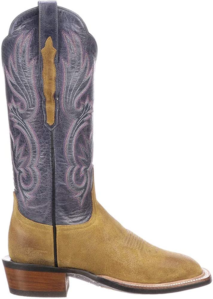 Lucchese Womens Jackie Embroidery Square Toe Boots Mid Calf Low Heel 1-2