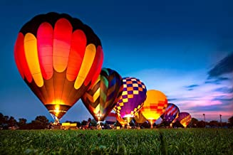 Poster Foundry Hot Air Balloons Glowing at Night Photo Print Stretched Canvas Wall Art 24x16 inch