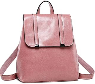 Xuan Yuan Backpack - Women's PU Soft Leather Backpack, Multi-Function Large-Capacity Package A4 Magazine IPAD Business Bag College Light Casual Retro Backpack Backpack (Color : Pale Pink)