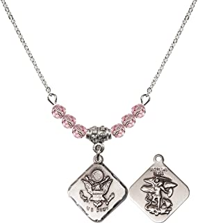 18-Inch Rhodium Plated Necklace with 4mm Light Rose Birthstone Beads and Sterling Silver Saint Vitus Charm.