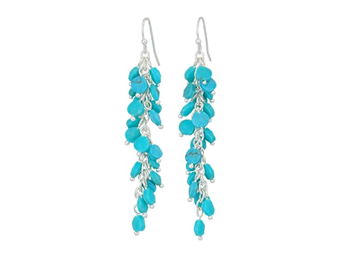 Lucky Brand  Turquoise Beaded Drop Earrings (Silver) Earring
