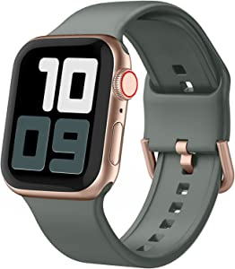 Blduzn Compatible with Apple Watch Bands 42mm 44mm, Soft Silicone Sport Wristbands Replacement Strap with Classic Clasp Compatible with iWatch Series SE 6 5 4 3 2 1 for Women Men, Olive Green