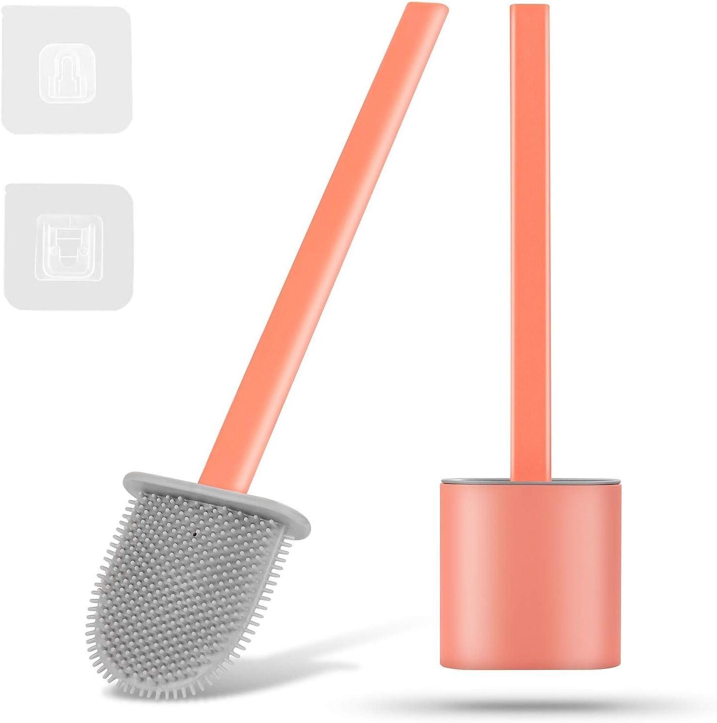 Cepillo de Silicona para Inodoro con Soporte Escobillas de Ba/ño Escobilla WC Plana Herefun Escobillas de Inodoro Cepillo Limpieza WC Juego de portaescobillas para Inodoro Ba/ño Azul
