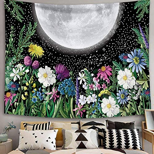 Moonlit Garden Tapestry Moon Tapestry for Bedroom Full Moon Surrounded By Plants and Flowers product image
