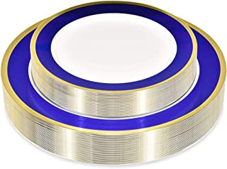 50 Piece Disposable Plates - Heavy Duty Plastic Dinnerware for Weddings Parties Thanksgiving Holiday - Includes 25 Dinner Plates and 25 Dessert Plates (Blue and Gold)