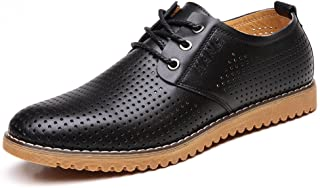 Men's Breathable Leather Casual Shoes Lace Up Oxfords Dress Shoes Brown