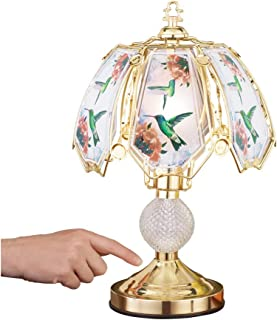 Touch Base Hummingbird Lamp with Gold-Tone Base and Colored Glass Panels, Tabletop Decorative Accent for Any Room in Home