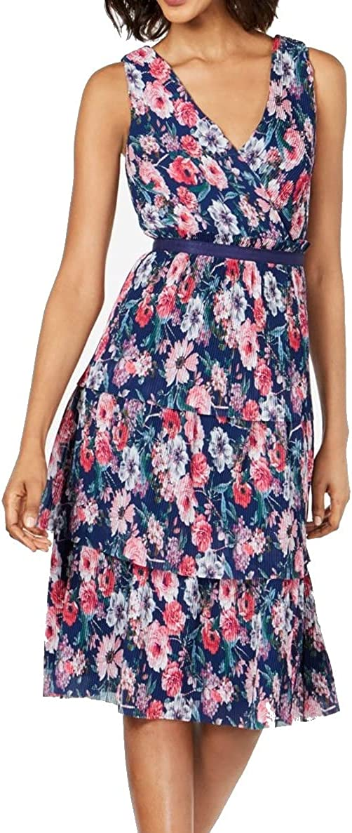 Adrianna Papell Womens Floral Tiered Cocktail Dress Navy