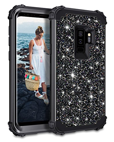 Casetego Compatible with Galaxy S9 Plus Case,Glitter Sparkle Bling Three Layer Heavy Duty Hybrid Sturdy Shockproof Full Body Protective Cover Case for Samsung Galaxy S9 Plus,Shiny Black