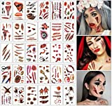 Johiux 30 Tabellen Halloween Narben ,Halloween Kostüme Zombie Tattoos,Halloween Wunden Zum...