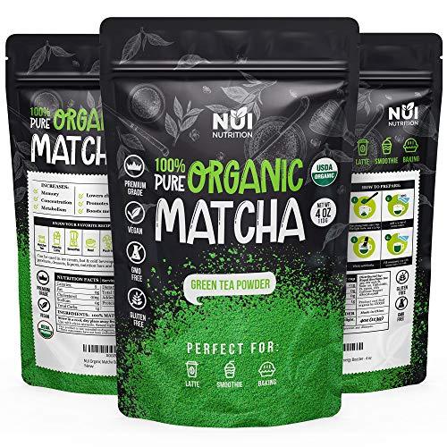 NUI Organic Matcha Green Tea Powder 100% Pure Premium Matcha for Latte, Smoothies and Baking 4 oz
