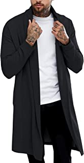 Pacinoble Men's Long Cardigan Collar Cardigan Long Sleeve Open Front Lightweight Cotton Long Length Drape Cape Black