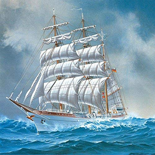 YINYINEE 5D Diamond Painting Kits for Adults Full Drill Sailing Ship Boat Embroidery Rhinestone Painting