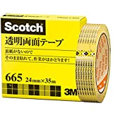 3M スコッチ 透明両面テープ 24mm x 35m ライナーなし 紙箱入り 665-3-24