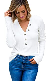 Womens V Neck Henley Shirts Long Sleeve Ribbed Button Down Basic Tops Tees