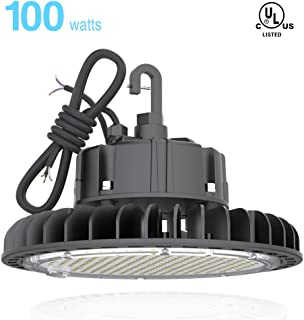 HYPERLITE 14000LM(100W) Dimmable LED UFO High Bay Lighting UL/DLC Premium Listed | Warehouse Commercial Grade | US Hook Included | Alternative to 450W MH/HPS | 5 Yr Warranty, 100W/14,000LM, 4000K