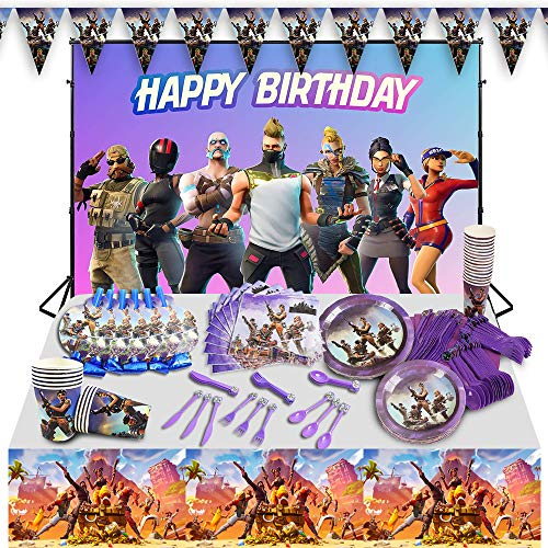 Birthday Party Supplies for Game Fans, 102 pcs Game Party Decoration Boys Favors Including, Banner, Plates, Cups, Napkins, Tablecloth, Spoon, Forks,Knives Blowing Dragon Paper and Decorations Backdrop