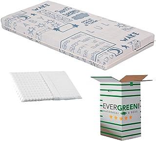 Evergreenweb – Barnmadrass 60 x 120 cm höjd 12 cm Spjälsäng eller barnsäng + gratis anti-sphagnum kudde med 100 % naturlig...