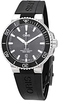 Oris Aquis Date Grey Dial Automatic Men's Black Rubber Watch
