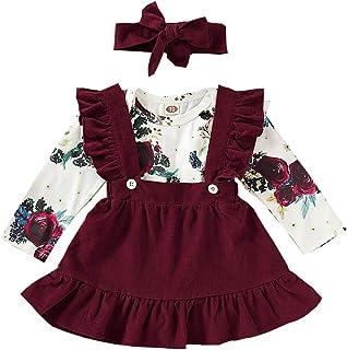 HWTOP Kinderkleidung Kleinkind Kleidung Set Baby Mädchen Babybody Gurt Rock Stirnband Anzug Bekleidungsset Langarm Floral Strampler Strumpf Röcke Outfits Set