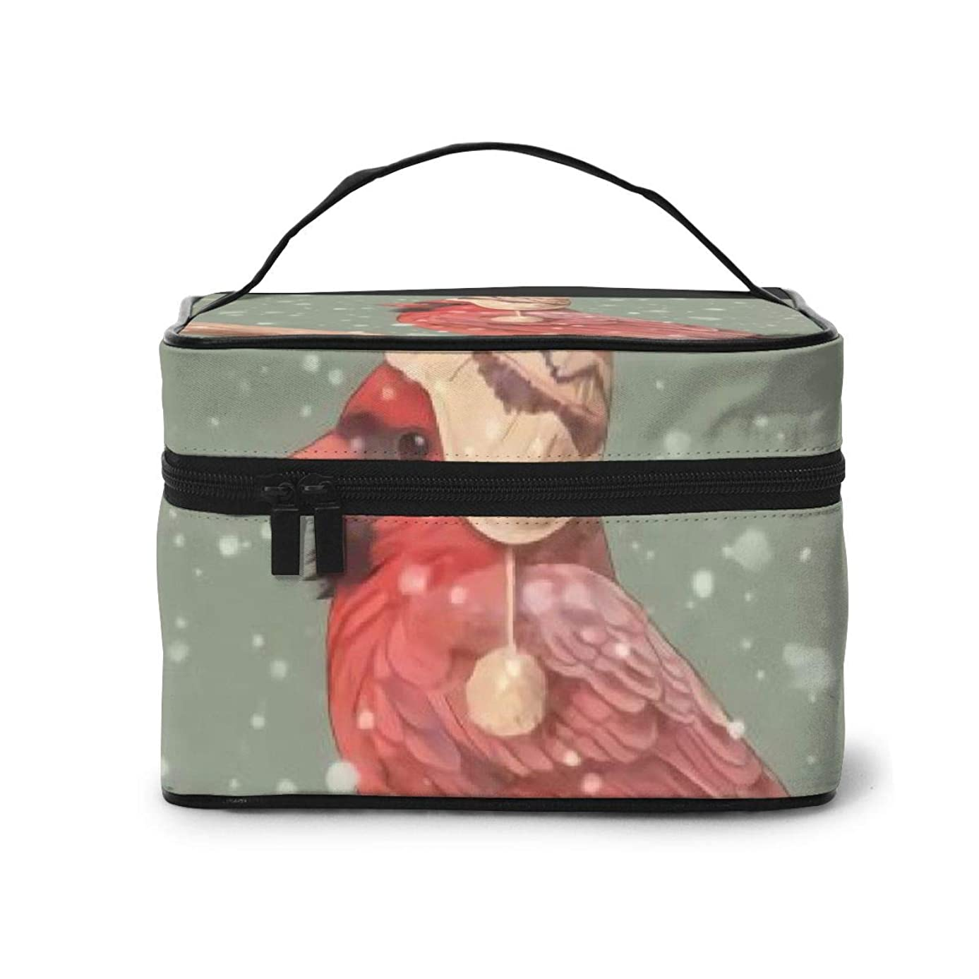 ラリー溶ける怠感メイクポーチ 化粧ポーチ コスメバッグ バニティケース トラベルポーチ 鳥 冬 ウール帽子 雑貨 小物入れ 出張用 超軽量 機能的 大容量 収納ボックス