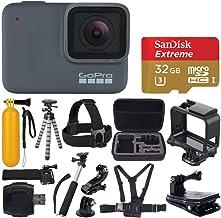 GoPro HERO 7 Silver Waterproof Digital Action Camera + Sandisk Extreme 32GB MicroSDHC Memory Card + Medium Case + Flexible...
