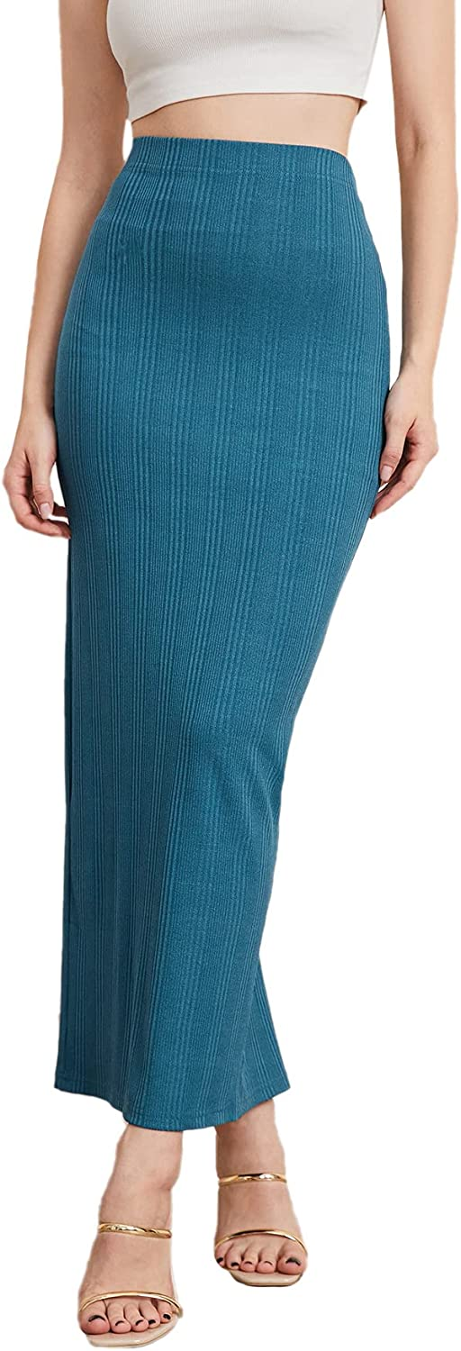 Milumia Women's Elastic High Waisted Slit Back Work Office Solid Long Pencil Skirt