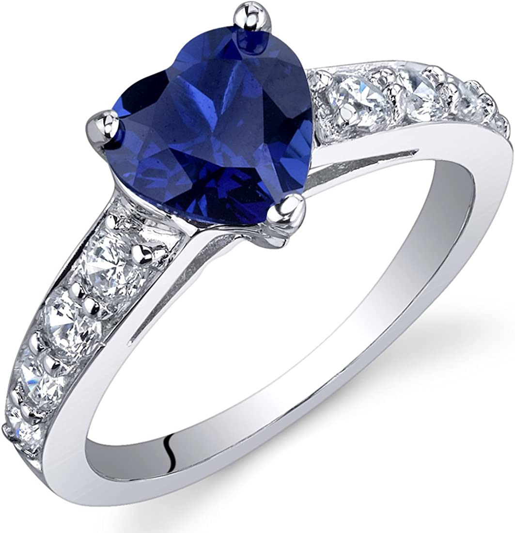Peora Created Blue Sapphire Heart sold out Sterling Silve in Ring Safety and trust Promise