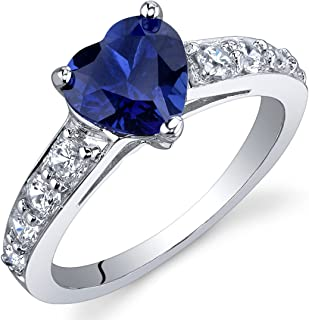 Created Blue Sapphire Heart Promise Ring in Sterling Silver, 1.75 Carats, Sizes 5-9