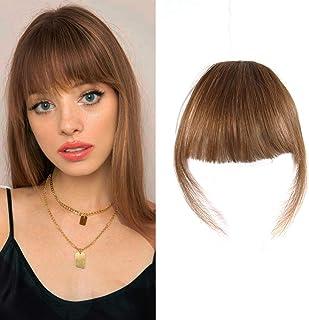 HAIQUAN Bangs Hair Clip Fringe Hair Bang Face Bang Human Hair Fashion Clip in Hair Extension(Flat Bangs with Temples, Ligh...