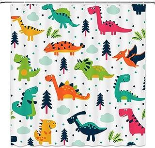 Cartoon Dinosaur Shower Curtain, Colorful Cute Dino Pattern for Kids Boys Funny Friendly Cartoon Animal Style Jurassic Elasmosaurs Fabric Bathroom Decor Sets with 12 Hooks,71X71 Inchs,Orange Green