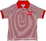 University of Nebraska Huskers Striped Polo Shirt by Creative Knitwear, Red/White, 3T