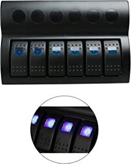 HYDDNice Waterproof Switch Panel 6 Gang Rocker Switch Panel with Blue LED Indicators for Boat Marine Bridge Control Car